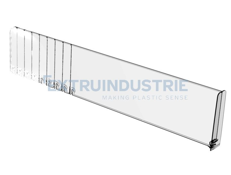 Breakable shelf divider with big front stopper in 120mm high wall.